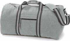 Bruine Quadra Canvas weekendtas/reistas licht grijs 45 liter - Vintage reistassen/weekendtassen - Tassen voor dames/heren/volwassenen