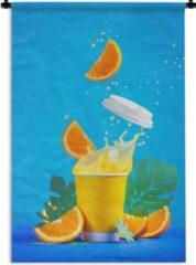 1001Tapestries Wandkleed Dranken - Sinaasappelsap uit papieren beker Wandkleed katoen 60x90 cm - Wandtapijt met foto