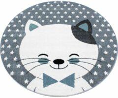 Kids Laagpolig Vloerkleed - Kitty - Rond - Blauw - 160 x 160 cm - Vintage, Patchwork, Scandinavisch & meer stijlen vind je op WoonQ.nl