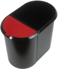Rode Helit Duo systeem Prullenbak Zwart/rood 20/9 Liter 280 x 350 x 445 mm