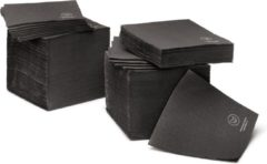 Natural Tableware Duurzame cocktail servetten - FSC Papier - zwart - 20 x 20 cm - 125 stuks