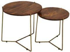 D.Z.S Brix | Mason Brass | salontafels | Set of 2 rond | mangohout met staal