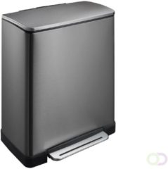 Mattiussi Ecologia Afvalemmer stapelbaar 35 liter grijs met bruin deksel | Handvat | EasyMax