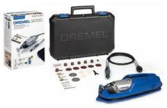 "Grijze Bosch ""Dremel 3000 Multitool - Roterend - 130 Watt - Inclusief 25 accessoires, flexibele as en premium opbergkoffer met machinehouder"""