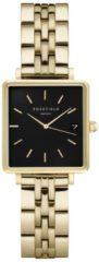 Rosefield Watches - The Boxy XS Dames Horloge | Zwart/Goud | Roestvrijstalen band | Vierkant | Quartz uurwerk | Waterdicht | 3 ATM | Ø22mm