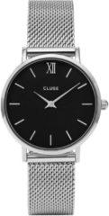 CLUSE Horloges Minuit Mesh Silver Colored Black Zilverkleurig