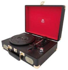 Zwarte GPO SOHOBLA Platenspeler met ingebouwde speakers