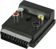 Valueline VLVP31903B Scart Plug (21p aangesloten) SCART Female + SVHS Female + 3x RCA Female Zwart kabeladapter/verloopstukje