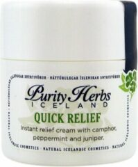Purity Herbs Quick Relief - 100% natuurlijk crème hoofdpijn / pijnstiller/ voorkomt migraine/ EucaIyptus, pepermunt en IJslandse kruiden/ Beter ademen bij verkoudheid - 30 ml