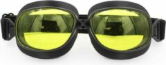 Pothelm.nl Zwarte vliegeniersbril geel glas