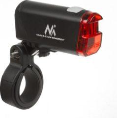 Zwarte Fietsverlichting LED voorkant + achterkant Maclean Energy MCE312, voorkant heeft 2 verlichtingsmodi en de ingebouwde accu 1500mAh - achterkant 2xAAA met DE (StVZO) certificaat