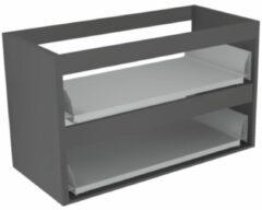 Antraciet-grijze Sub 16 wastafelonderkast met 2 lades zonder fronten 70 x 52 cm, antraciet
