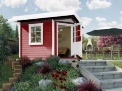 Rode WEKA | Designhuis 213 | 300 x 300 cm | Zweeds rood