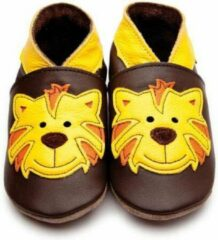 Bruine Inch Blue babyslofjes tommy tiger chocolate yellow maat S (10,5 cm)