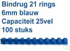 Fellowes bindruggen, pak van 100 stuks, 6 mm, blauw
