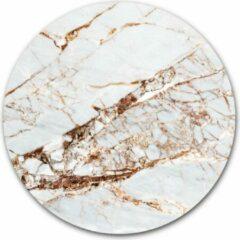 Roze WallCatcher Ronde muursticker marmer in de kleur wit en rosé goud | 30 cm behangsticker wandcirkel | Herpositioneerbare wandsticker muurcirkel Marble Rose Gold