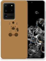 Bruine Samsung Galaxy S20 Ultra Telefoonhoesje met Naam Baby Hyena