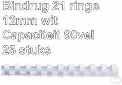 Fellowes bindruggen, pak van 25 stuks, 12 mm, wit