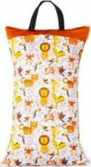 Kidzstore.eu Wetbag XL – tijger en aap | 70cm x 40cm | 2 vakken voor droge en natte spullen
