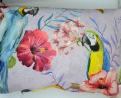 Blauwe Skins by Nature Kussen papegaai ara toucan woonkussen pastel