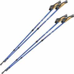 Tectake 2 paar Nordic walking stokken antishock blauw 401980