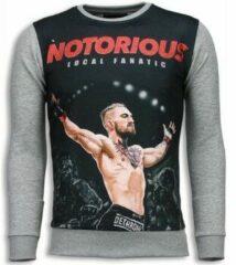 Local Fanatic Notorious McGregor - Digital Rhinestone Sweater - Licht Grijs Sweaters / Crewnecks Heren Sweater Maat XL