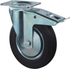 Kelfort Zwenkwiel, zwart rubber wiel met stalen velg en rollager + rem, 205kg m/rem 200mm