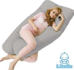 Litollo® Zwangerschapskussen XXL | Voedingskussen | Lichaamskussen |Body pillow | 280cm | Incl. opbergtas | Afneembare hoes | Grijs