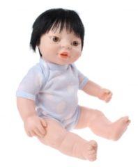 Blauwe Berjuan babypop Newborn met romper Aziatisch 38 cm jongen