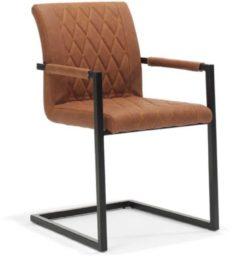 Freischwinger Sessel in Braun Kunstleder Edelstahl (2er Set)