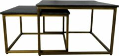 Zwarte HSM Collection Vierkante salontafel Finnley - 70x70 cm - black wash/antique gold - set van 2