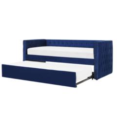 Beliani Bedbank fluweel blauw 90 x 200 GASSIN