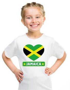 Afbeelding van Shoppartners Jamaica kinder t-shirt met Jamaicaanse vlag in hart wit jongens en meisjes M (134-140)