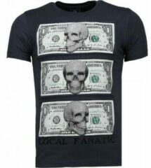 Grijze T-shirt Korte Mouw Local Fanatic Beter Have My Money - Rhinestone T-shirt
