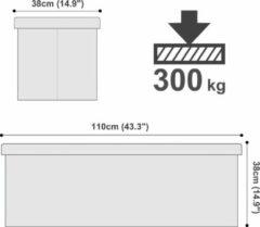 Witte Songmics Opvouwbare zitkruk, zitbank met 120 liter opbergruimte, tot 300 kg belastbaar, kunstleer