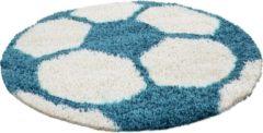 Adana Carpets Rond Hoogpolig vloerkleed - Fun Turquoise Ø 120cm
