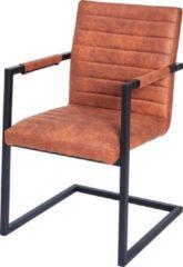 Bruine Furn4All® Ray Armstoel - Cognac - Eetkamerstoel - Kuipstoel - Designstoel - Met Armleuning - Stof