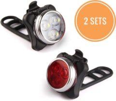 Rydon Fietslamp SET - USB - Oplaadbaar - Zwart - Waterdicht ( 2 sets! )