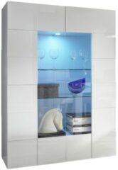 Pesaro Mobilia Vitrinekast Dama 166 cm hoog - Hoogglans wit