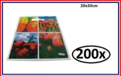 Thema party 200x LDPE draag tas tulpen 20x30cm.
