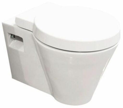 Afbeelding van Douche Concurrent Toiletpot Hangend Hanes 53x39,5x33,5cm Wandcloset Keramiek Diepspoel Nano Coating EasyClean Glans Wit met Softclose Toiletbril
