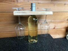 Bruine Van Engelen Interieurs Wijnfles houder voor glazen | glazenhouder hout | Wijnhouder | gemaakt van gerecycled pallet hout | handgemaakt
