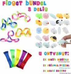 Fidget Toys pakket onder de 10 euro - Friemel puzzel - Mochi Squishy - Mesh Marble - Voordeelbundel