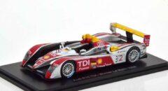 Audi R10 TDI - Winner Le Mans 2008 (Zilver) 1/43 Spark - Modelauto - Schaalmodel - Model auto