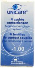 Unicare Maandlenzen -1.00 - 4 pack - Contactlenzen