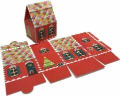 Presentdoosjes.nl Presentdoosje Kersthuisje rood, groot: 13,2x10,6x18,5cm (10 stuks)