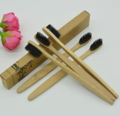 Bruine Sitna 16 Stuks Bamboe Tandenborsels - Toothbrush – Tandenborstel - Medium/Zachte Borstelharen