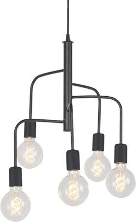 Afbeelding van QAZQA facile - Hanglamp - 5 lichts - Ø 400 mm - Zwart