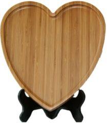 Naturelkleurige Bamdura tableware Bamboe Serveerschaal 'Hart'