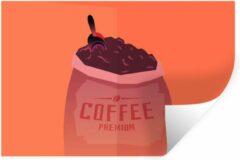 StickerSnake Muursticker Koffie Quotes 2 - Koffie quote Coffee premium en een zak koffiebonen - 90x60 cm - zelfklevend plakfolie - herpositioneerbare muur sticker